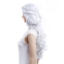 Amir Cosplay peruk oyun Thrones Daenerys Targaryen Cosplay peruk gümüş gri ve sarışın sentetik saç peruk uzun dalgalı saç peruk