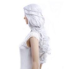 אמיר קוספליי פאות משחק של הכס Daenerys Targaryen פאת קוספליי Slivery אפור ובלונדינית סינטטי שיער פאה ארוך גלי שיער פאות