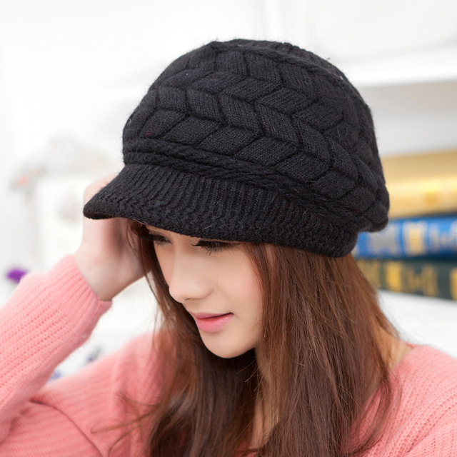 18d1f941fa495 2014 New Arrival Soft Peaked Cap Women Hat Winter Caps Knitted Hats For  Woman 8 Colors