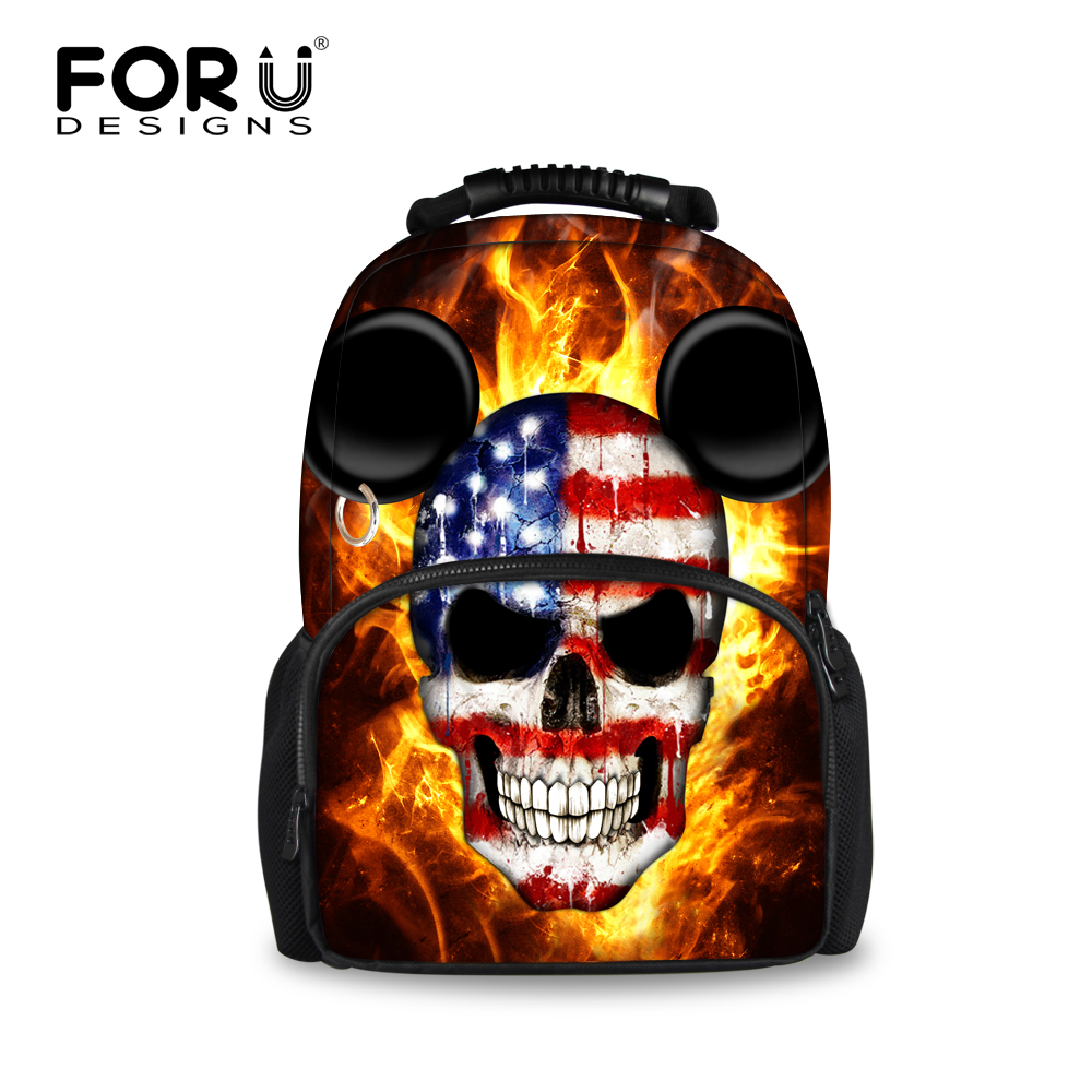 Stylish Cool Punk Skull Printing Men Backpacks Boys School Bagpack Male Tourism Travel Backpack for Teenager Children Rucksack