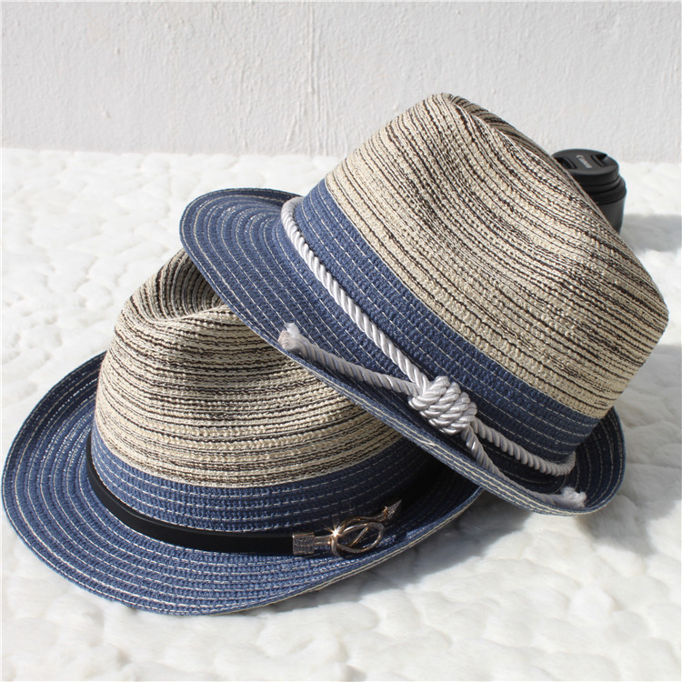 69320b4d489 Male Female Gradient color Straw Jazz hat Classic Twist Rope girdle Panama Jazz  Hat beach hat