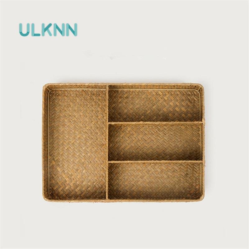 Handmade Straw Woven Storage Box for Sundries/Utensils/Cosmetics Natural Multi-Function 7 Slots Kitchen/Office Organizer