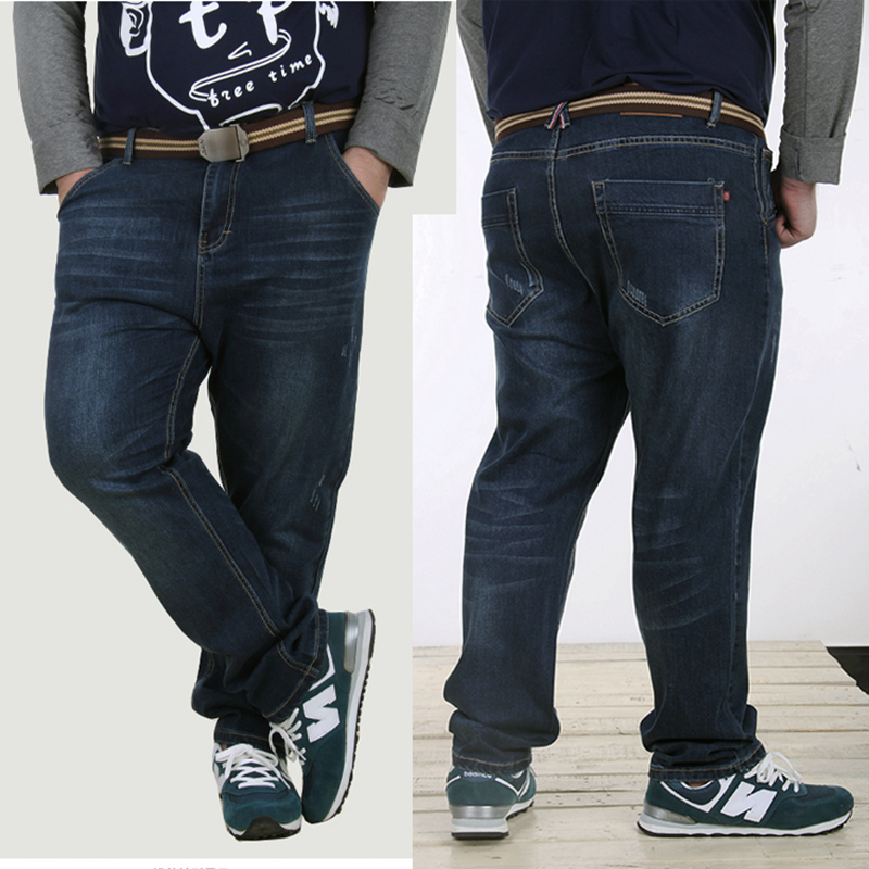 2016 New Arrived Large Size Mens Jeans Denim Pants Washed Blue Male Jeans For Fat Person