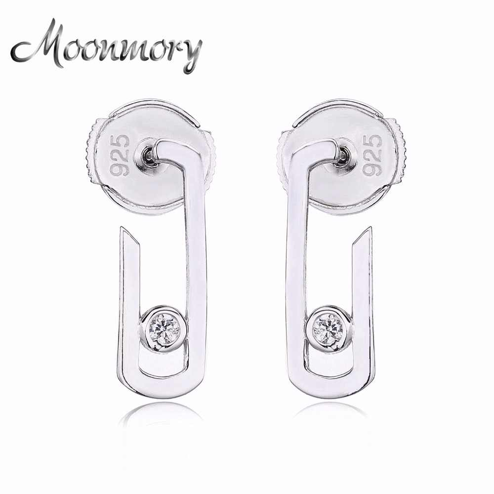 Moonmory France Fashion Jewelry 925 Sterling Silver Silver Earring For Women Silver Move Addiction Star Valentine's gift
