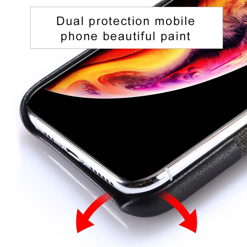 LANGSIDI Case For iphone X XR XS Max Cover for iPhone XS XS Max 7 8 6 5 Plus 6S Phone Cases Stitch Canvas Genuine Leather 2019 in Half wrapped Cases from Cellphones Telecommunications