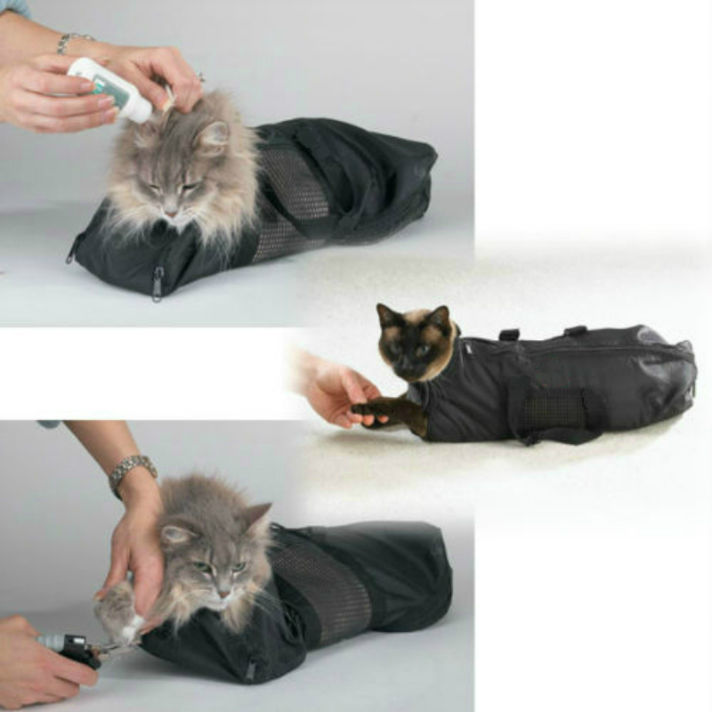 Heavy Duty Mesh Cat Grooming Bathing Restraint Bag No Scratching per - Prodotti per animali domestici