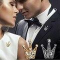 2017 Moda 1 pcs Marca Elegante coroa de cristal Acessórios de presente De casamento de Cristal Broches Para As Mulheres Homem Coroa Lapela Bijoux