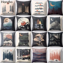 Hongbo 1 Pcs Mountain Tree Night View Cushion Cover Covers  Pillow Cases