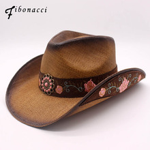 Fibonacci Top Quality Fashion Women Cowboy Hat Straw Fixed Shape Western Bowler Floral Embroidery Hats