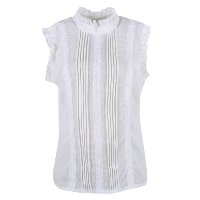 2020 Summer Style Vogue Women Ruffle Sleeve Neck Slim Fitted Shirts Casual Office Lady White Blouse Tops 3