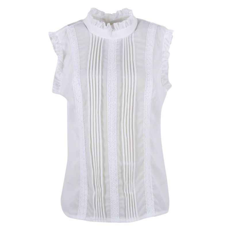 3414e3be940 ... 2018 Summer Style Vogue Women Ruffle Sleeve Neck Slim Fitted Shirts  Casual Office Lady White Blouse ...