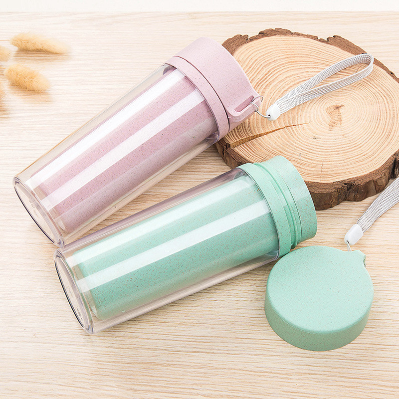300ML Double-layer Heat Insulation Cup Wheat Straw Water Bottle Leak Proof Hiking Tour Outdoor Drinkware Vacuum Cups