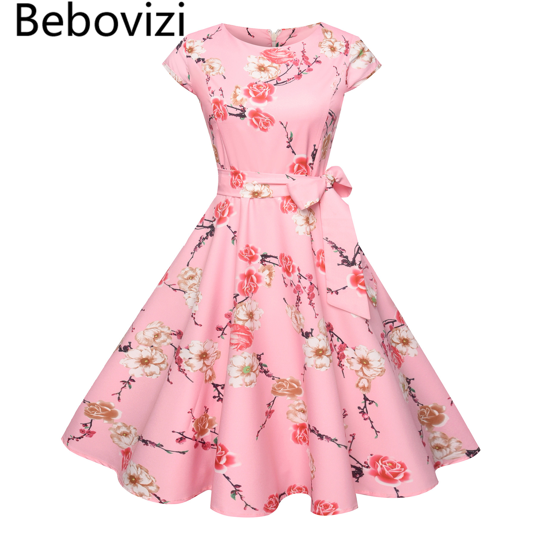 Bebovizi 2018 Big Hemlines Swing Pink Women's Bandage Tunic Dress Vintage Retro Audrey Hepburn Rockabilly Elegant Party Dresses