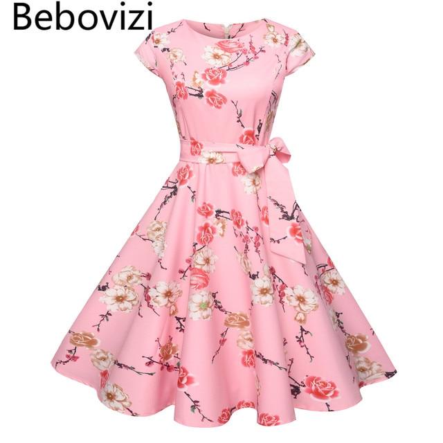 e7fddbe422b Bebovizi 2018 Big Hemlines Swing Pink Women s Bandage Tunic Dress Vintage  Retro Audrey Hepburn Rockabilly Elegant Party Dresses