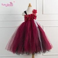Fleur Filles Tutu Robe Pour la Fête D'anniversaire Fleur Appliques Élégant Princesse Filles Robe De Bal Boutique Robes Pour 2-12Y