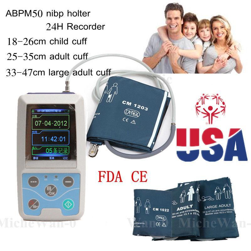 CONTEC ABPM50 NEW Ambulatory Blood Pressure monitor,PC software 24h NIBP free 6 cuffs contec manufacturer shipping abpm50 24 hours ambulatory automatic blood pressure monitor nibp ce approved