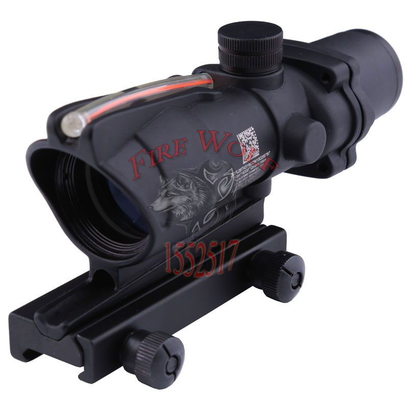 Trijicon ACOG 4X32 Fiber Source Red Illuminated Scope black color Tactical Hunting Riflescope tactical trijicon acog style 4x32 real fiber optics red illuminated crosshair scope w rmr micro red dot hunting riflescopes