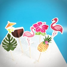 24pcs Flamingo Cupcake Topper Kids Birthday Cake Decoration Props Hawaii Pineapple Party Summer Pool Supplies
