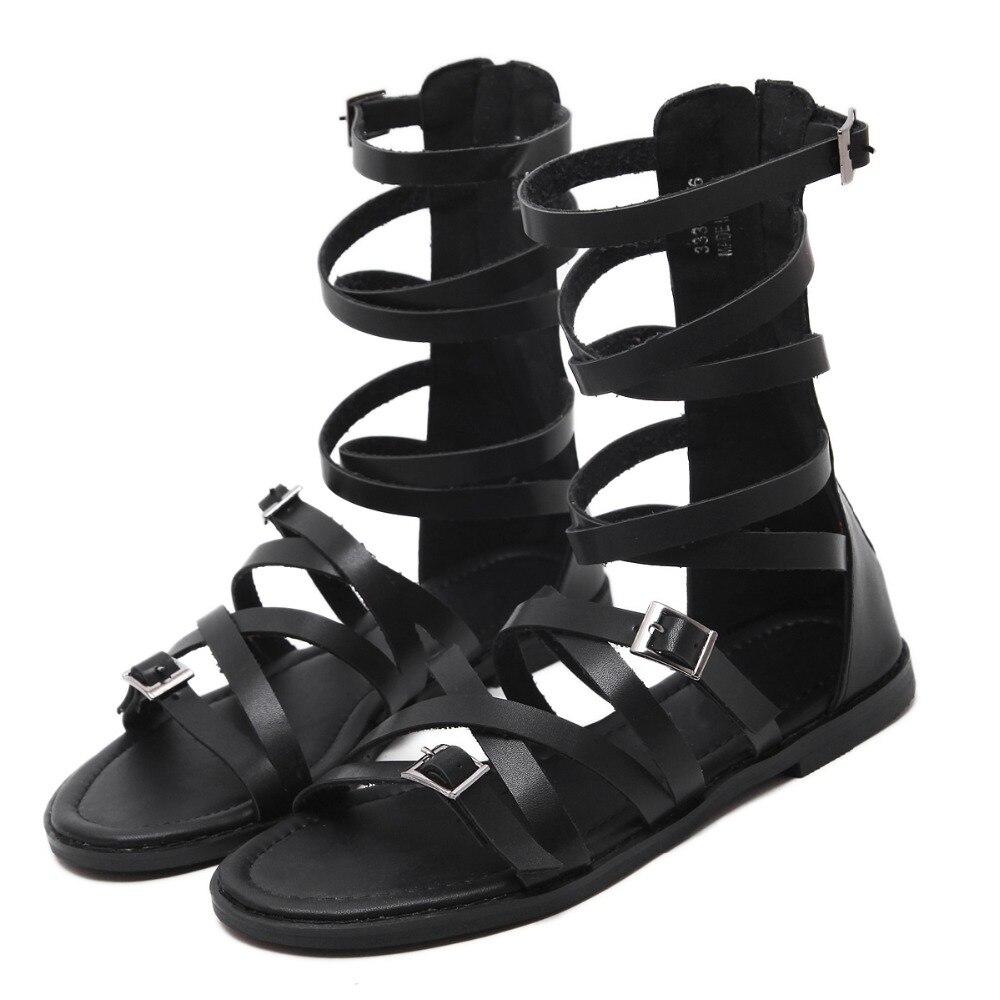 Gladiator Sandals Women Fashion Ankle Flat Black Summer Shoes PU Leather Flats Platform Beach Sandals Sandalias Mujer Sandalet phyanic platform women sandals 2017 new summer gladiator sandals beach flats shoes woman hook
