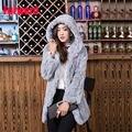 2016 новый мех кролика пальто куртки в долгосрочной разделе действительно с капюшоном шуба женская зима теплая модная одежда подкладка;
