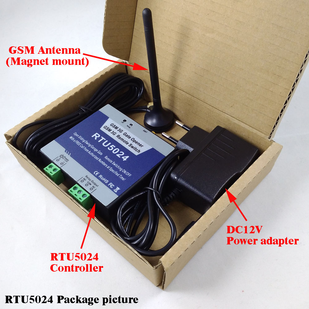RTU5024 GSM Automatic Swing Sliding Gate Opener Garage Door GSM Home Remote Access Controller NO NC Relay Output App Support