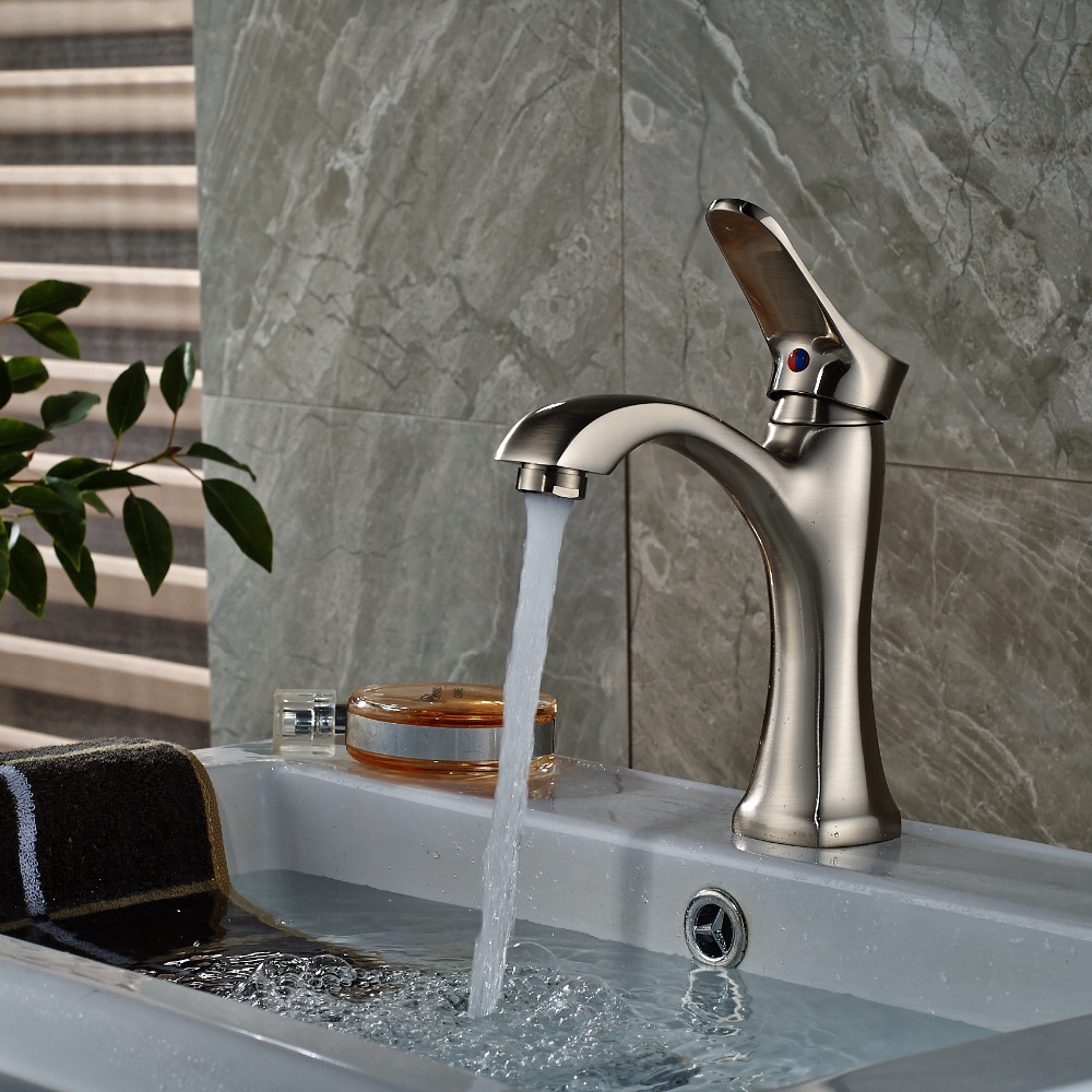Single Handle Hole Vanity Sink Mixer Tap Brushed Nickel Bathroom Basin Faucet quyanre waterfall basin faucet blackend orb nickel single handle mixer tap sink vanity faucet bathroom basin tap