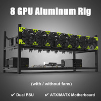 Professional 8 GPU Mining Machine Case Mining Rig Aluminum Stackable Case Open Air Miner Frame Open Air Frame Supply With 7 Fans