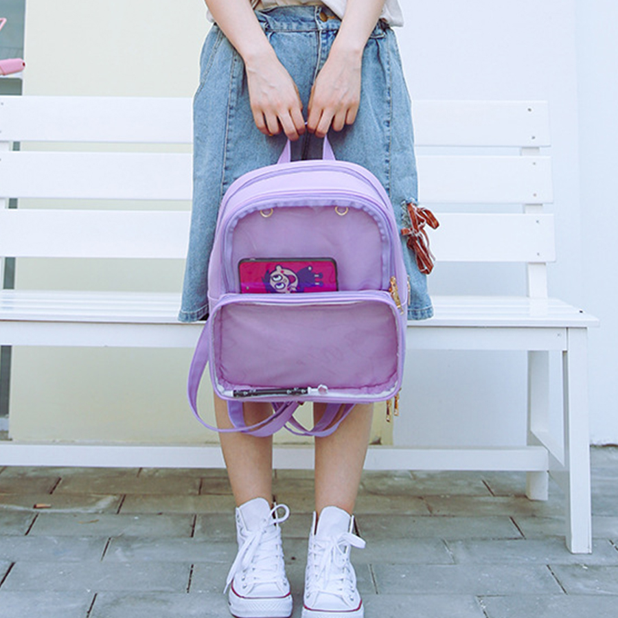 Cute Clear Transparent Women Backpacks Pvc Jelly Color Student Schoolbags Fashion Ita Teenage Girls Bags For School Backpack New #3