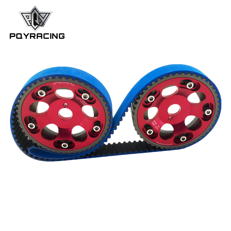 PQY - HNBR Racing Timing Belt BLUE + Aluminum Cam Gear Red FOR Toyota 1JZ 1JZGTE 1JZ-GTE PQY-TB1005B+6531R