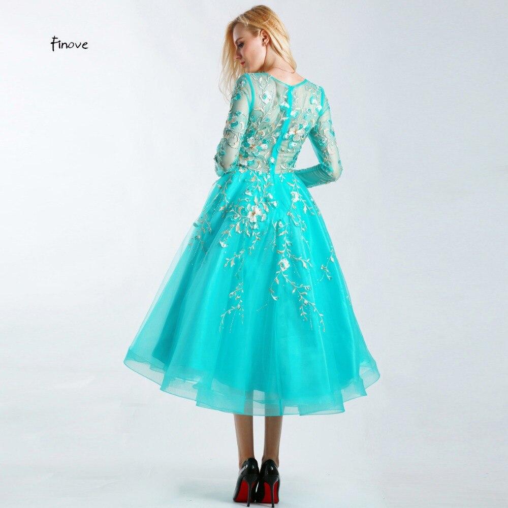 Finove Vestido de Festa Beaded Prom Dresses Scoop Neck Long Sleeve ...