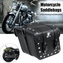 2 piezas negro Universal motocicleta PU Side Saddlebag equipaje bolsa de  sillín para Harley e552bce7655d