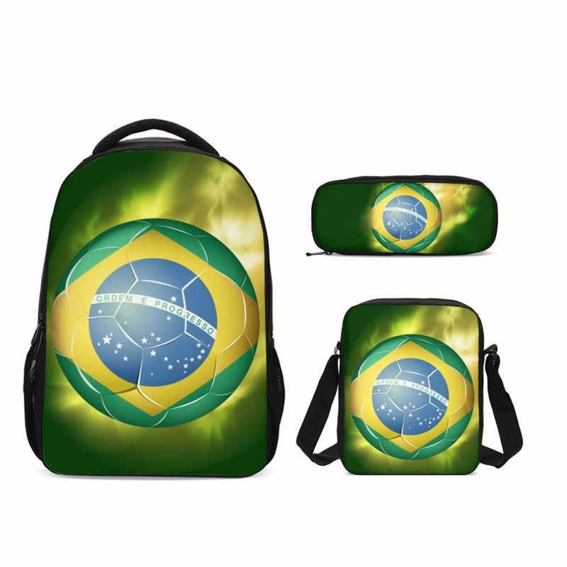 2019 Anak Sekolah Besar Tas Api Sepak Bola Printing Primer Sekolahnya Anak 3 Pcs Ransel Remaja Gadis Kasual Tas Buku tas