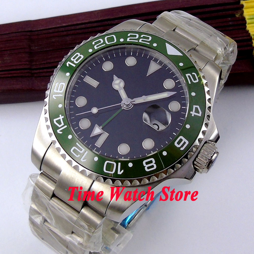 Bliger 43mm Black Sterile dial green ceramic bezel sapphire glass GMT Automatic movement Men's watch 360 цена и фото