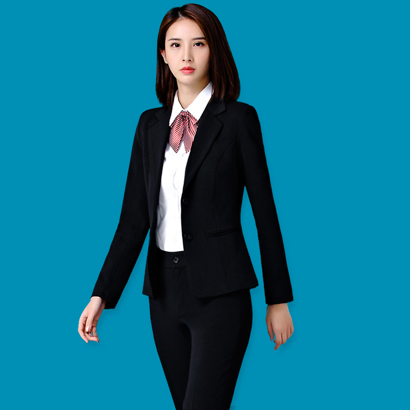 Casual Solid Women Pant Suits Notched Collar Blazer Jacket & Pencil Pant Female Suit Autumn 2019 High Quality