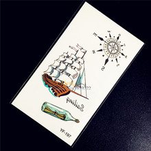 One Piece Travel Designs Flash Temporary Tattoo Stickers HYF197 Women Compass Makeup Waterproof Tattoo Pirate Boat Ship Pattern