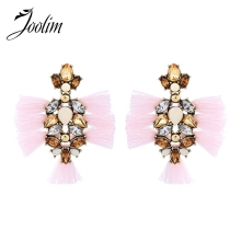 JOOLIM High Quality Pink Tassel Earring Piercing Ethnic Fashion Jewelry Wholesale