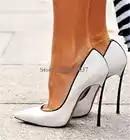 Фирменный дизайн; женские туфли лодочки с острым носком на металлическом каблуке шпильке без застежки; цвет белый, синий, розовый; модельные...