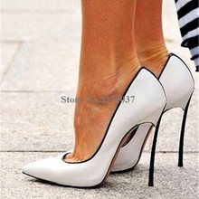 Brand Design Women Pointed Toe Metal Stiletto Heel Pumps Sli
