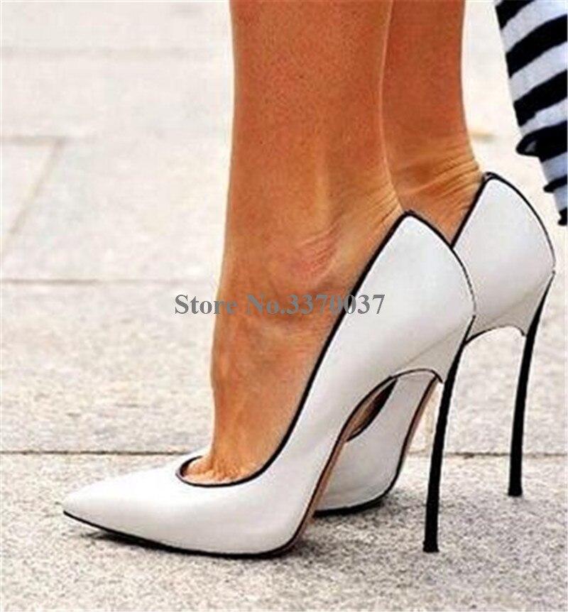 Donne di Disegno di marca del Metallo Punta a punta Tacco A Spillo Pompe Slip on Bianco Blu Rosa Tacchi Alti Pattini di Vestito Formale scarpe da sposa