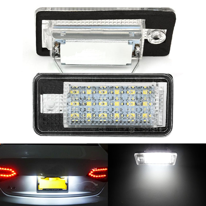 2pcs Error Free 18SMD LED White License Number Plate Light Auto Lamps Car Bulbs Source for Audi A3 S3 A4 S4 A6 C6 A8 S8 Q7