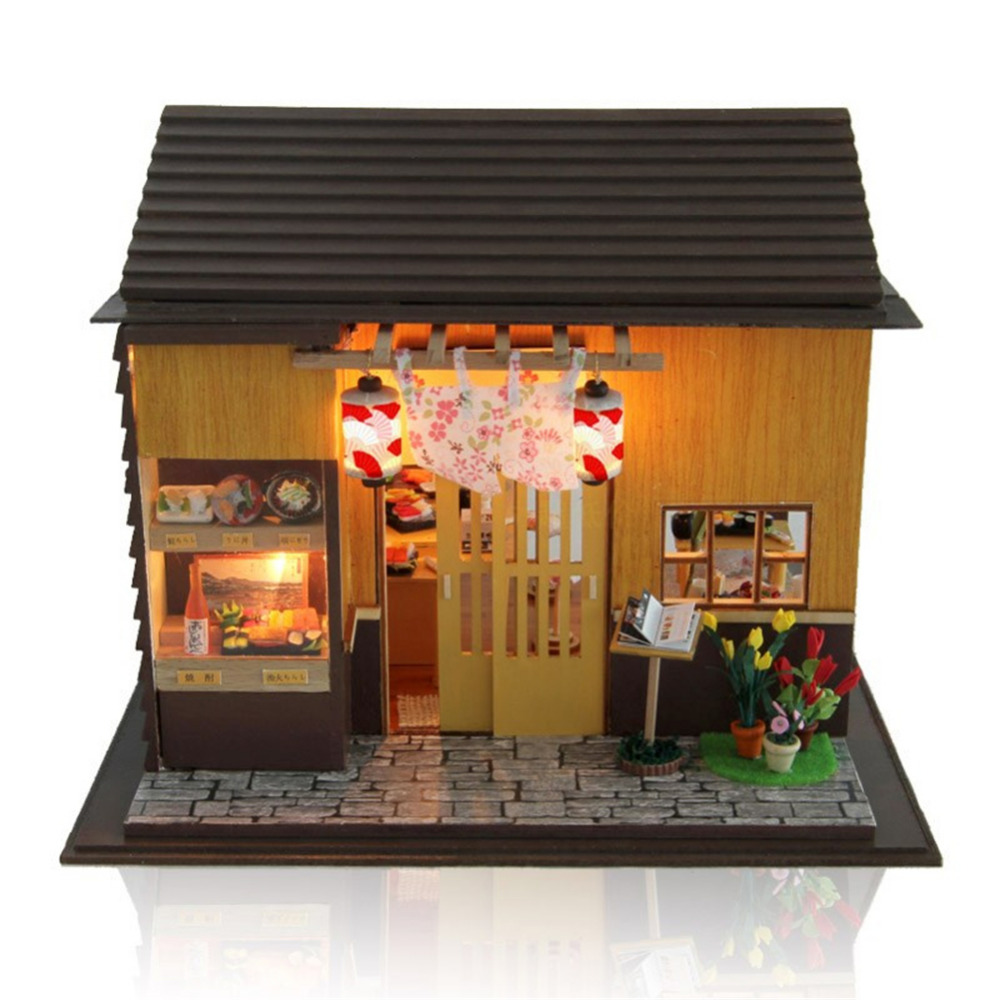 DIY Cabin Doll House Sushi Restaurant Miniature Dollhouse With Furnitures Toys For Children New Year Christmas birthday Gift