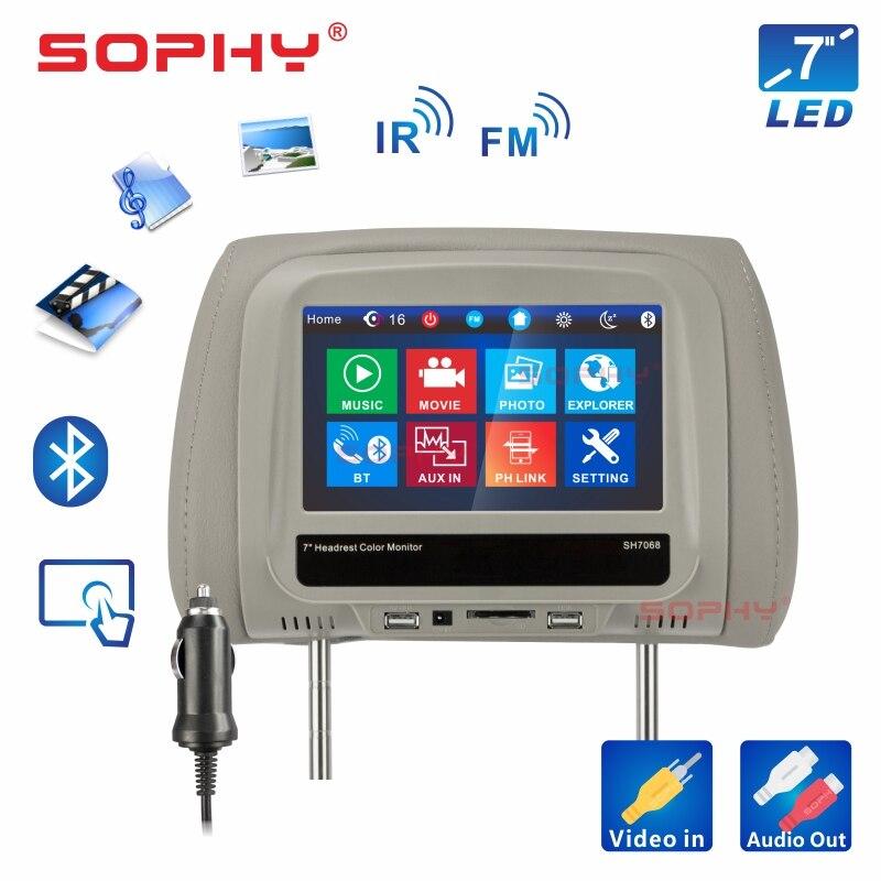 Новинка! 8 дюймов автомобильный подголовник монитор MP4/MP5 видео плеер подушка монитор с ик FM сенсорный экран телефон зарядка SH8068-P5 - Цвет: 7068MP5-Gray