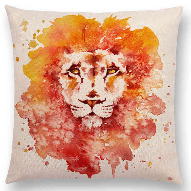 ... 18   Square Watercolor Animals Sofa Throw Pillow Case Robin Flamingos  Kookaburras Lion Butterfly Ladybug 23dce5500e69