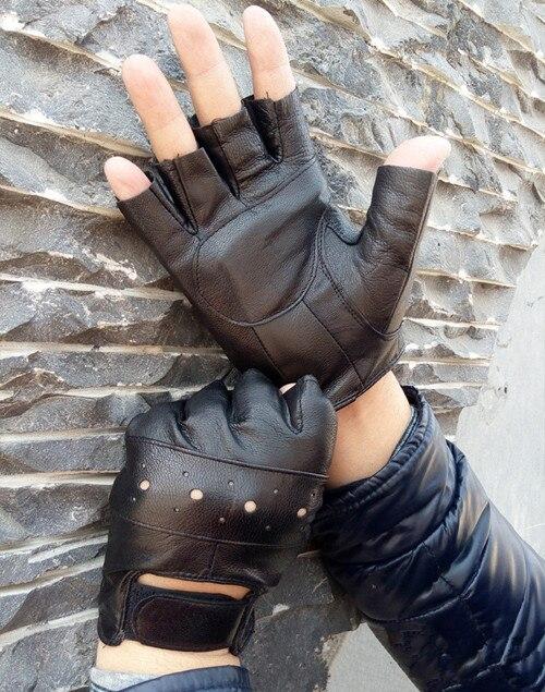BACHASH, козья кожа, Прямая поставка,, модные женские перчатки для вождения с полупальцами, 1 шт., кожаные перчатки для женщин, одноцветные - Цвет: black kong