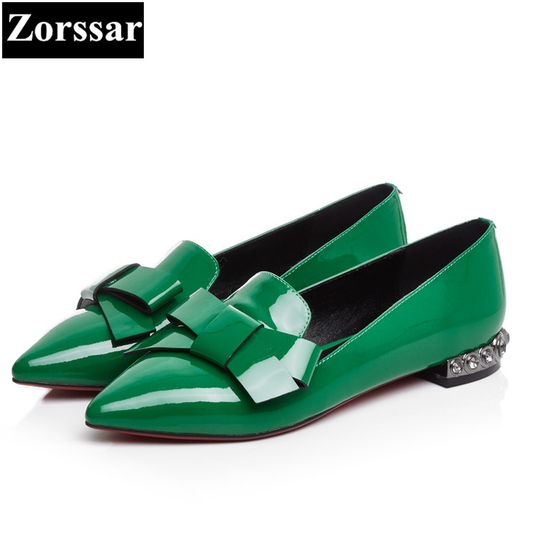 {Zorssar} Fashion bowknot Real leather Womens flat heel pointed toe shoes woman Single shoes casual slip on women flats shoes 2017 womens spring shoes casual flock pointed toe narrow band string bead ballet flats flat shoes cover heel women flats shoes