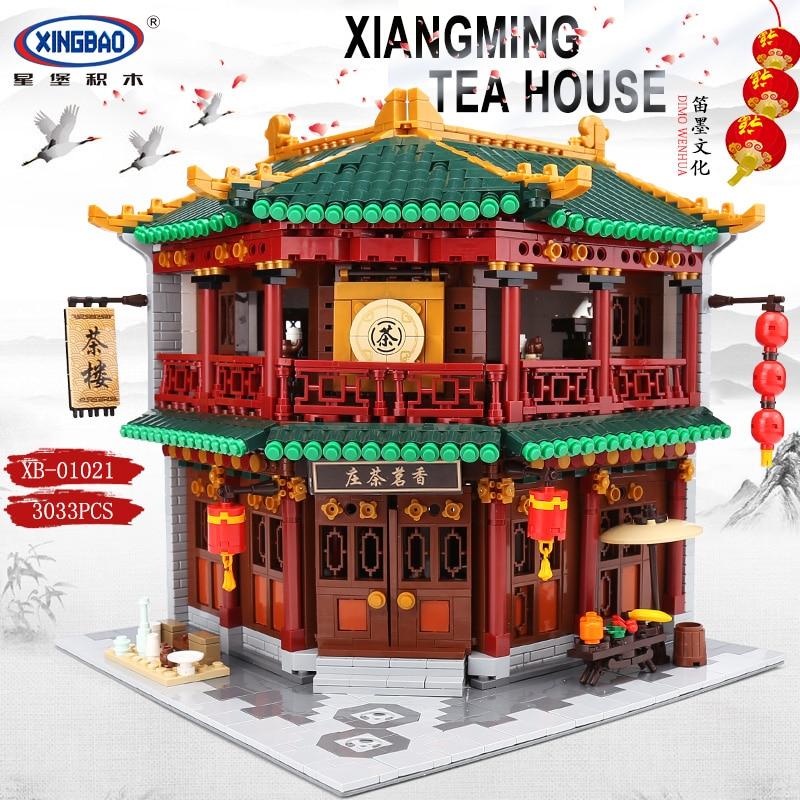XINGBAO 01021 3033 pièces Chinois Rue Bâtiment Série Le Toon Thé ensemble de maison blocs de construction Briques Compatible LegoINGs Créateur