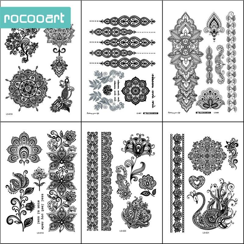 Black White Henna Body Paints Temporary Tattoo Designs (Pack Of 6 Sheets) Mandala Flower Bracelet Henna Hands Tattoo Stickers