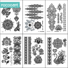 Black White Henna Body Paints Temporary Tattoo Designs (Pack of 6 Sheets) Mandala Flower Bracelet Hands Stickers