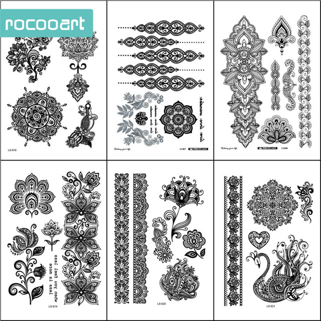 Black white henna body paints temporary tattoo designs pack of 6 black white henna body paints temporary tattoo designs pack of 6 sheets mandala flower mightylinksfo