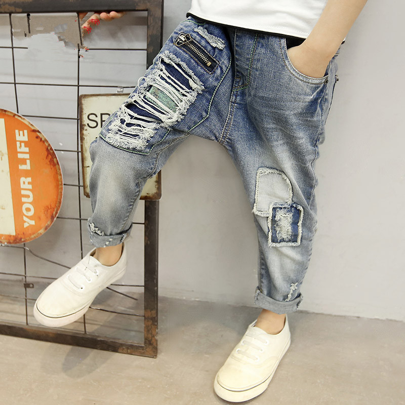 2017 Children s font b clothing b font Spring and autumn boys hole jeans boys pencil